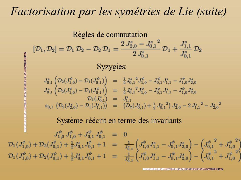 Règles de commutation Syzygies: Système réécrit en terme des invariants Factorisation par les symétries de Lie (suite)
