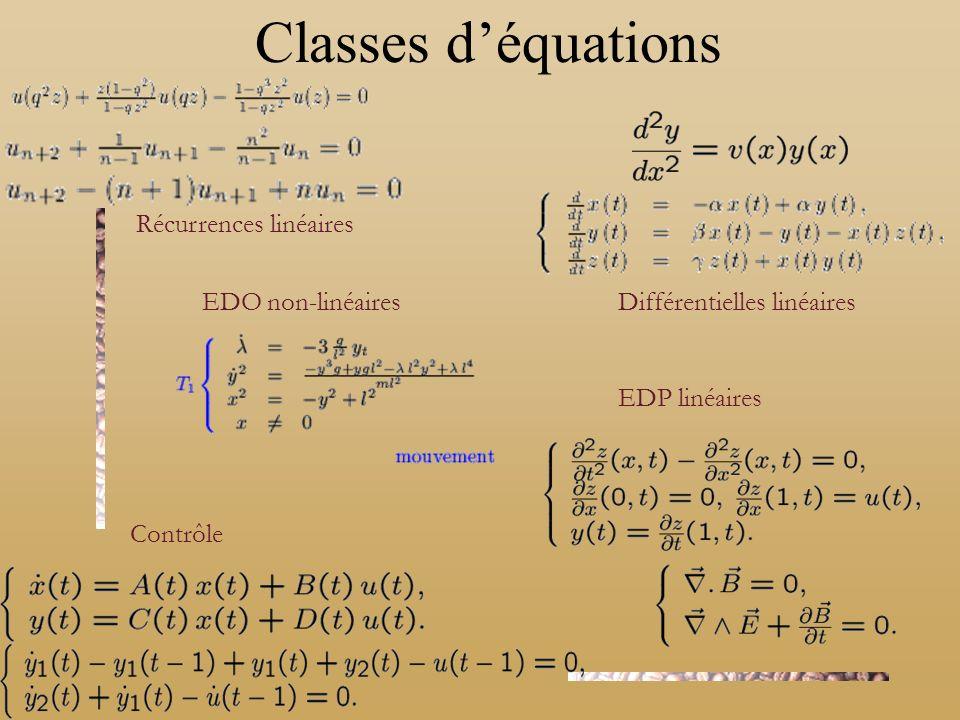 Classes déquations Récurrences linéaires Contrôle Différentielles linéaires EDO non-linéaires EDP linéaires