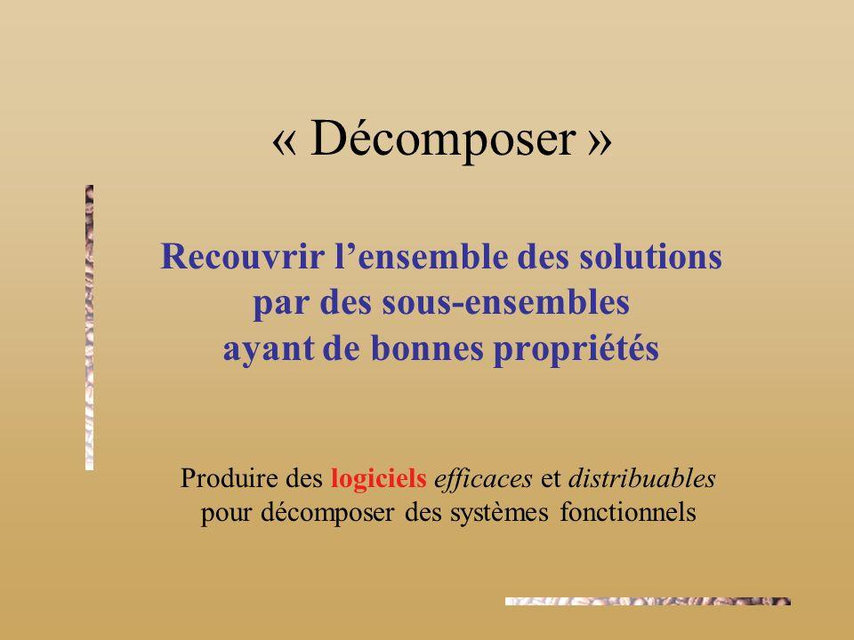 « Décomposer » Recouvrir lensemble des solutions par des sous-ensembles ayant de bonnes propriétés Produire des logiciels efficaces et distribuables pour décomposer des systèmes fonctionnels