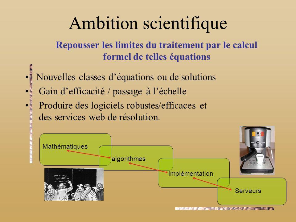 Repousser les limites du traitement par le calcul formel de telles équations algorithmes Mathématiques Implémentation Serveurs Ambition scientifique N