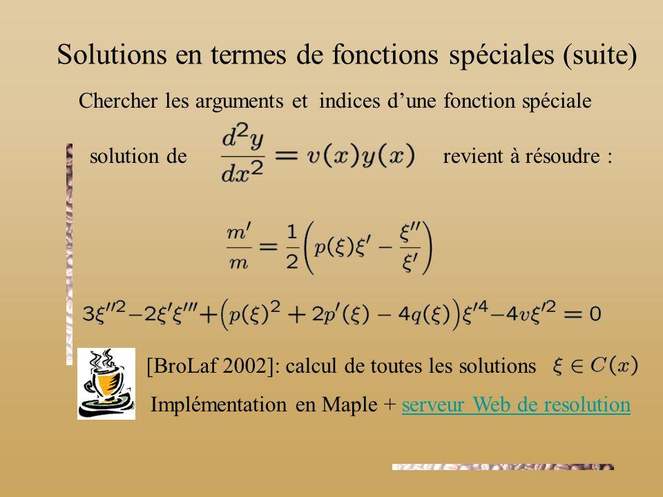 Chercher les arguments et indices dune fonction spéciale Implémentation en Maple + serveur Web de resolutionserveur Web de resolution solution de [Bro