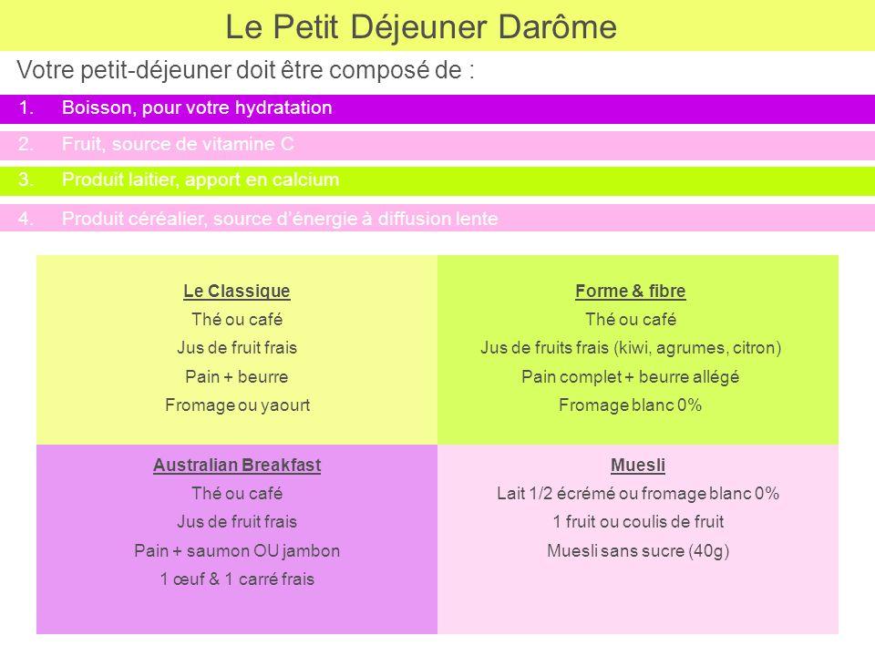Le Petit Déjeuner Darôme 3.Produit laitier, apport en calcium Le Classique Thé ou café Jus de fruit frais Pain + beurre Fromage ou yaourt 4.Produit cé