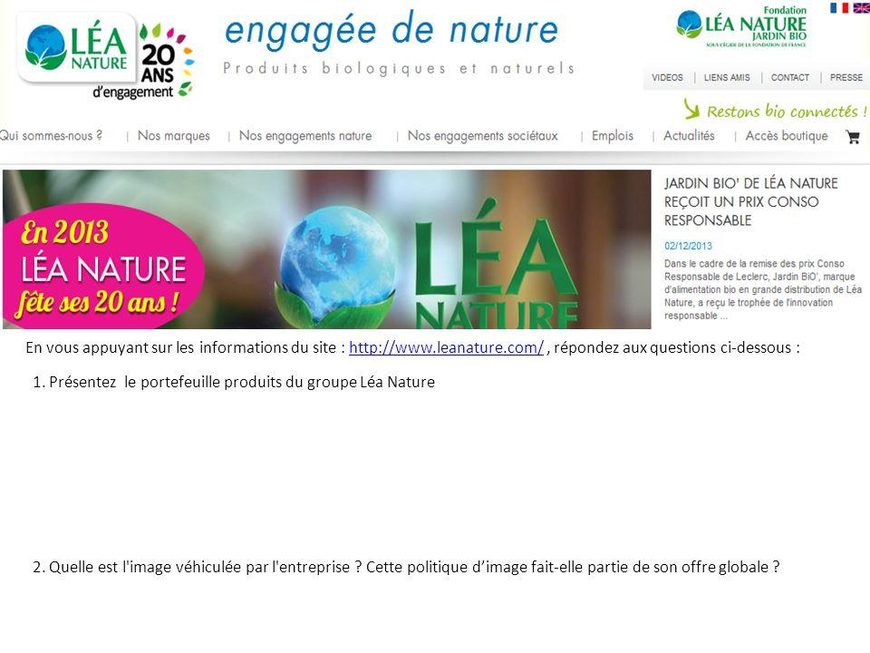 1.Présentez le portefeuille produits du groupe Léa Nature 2.