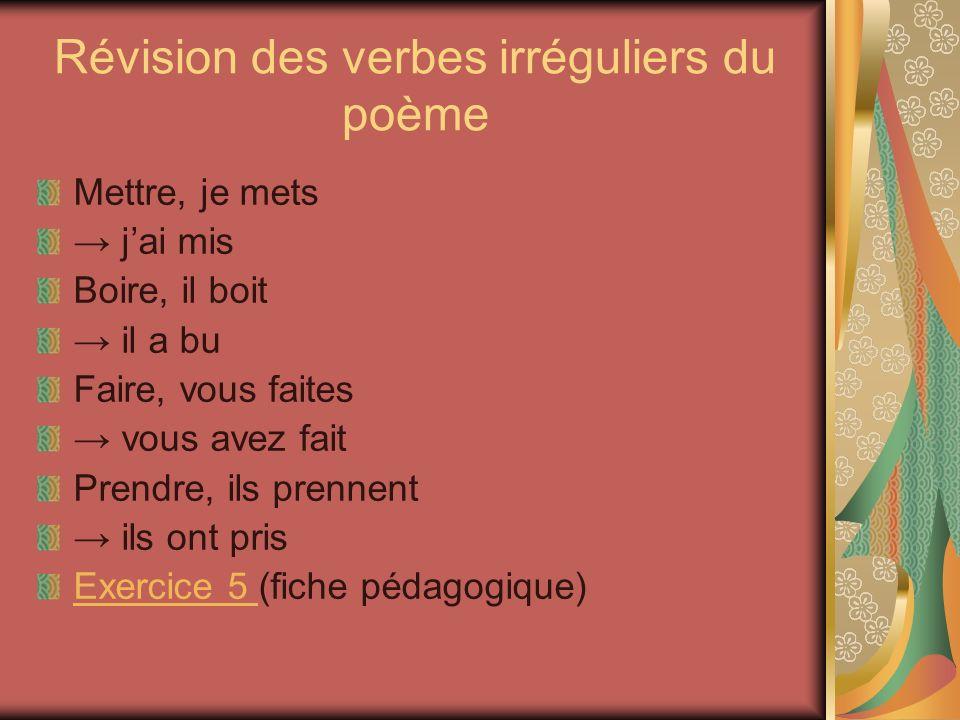Révision des verbes irréguliers du poème Mettre, je mets j ai mis Boire, il boit il a bu Faire, vous faites vous avez fait Prendre, ils prennent ils o
