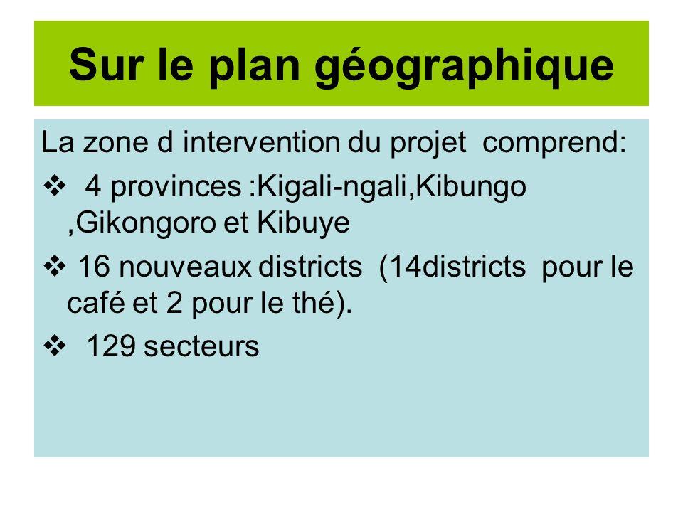 Sur le plan géographique La zone d intervention du projet comprend: 4 provinces :Kigali-ngali,Kibungo,Gikongoro et Kibuye 16 nouveaux districts (14districts pour le café et 2 pour le thé).