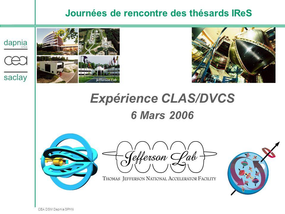 CEA DSM Dapnia SPhN Journées de rencontre des thésards IReS Expérience CLAS/DVCS 6 Mars 2006