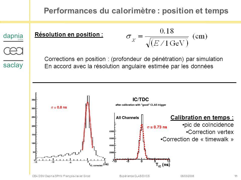 CEA DSM Dapnia SPhN François-Xavier Girod Expérience CLAS/DVCS 06/03/200611 Performances du calorimètre : position et temps Résolution en position : C