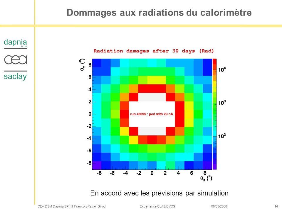 CEA DSM Dapnia SPhN François-Xavier Girod Expérience CLAS/DVCS 06/03/200614 Dommages aux radiations du calorimètre En accord avec les prévisions par s