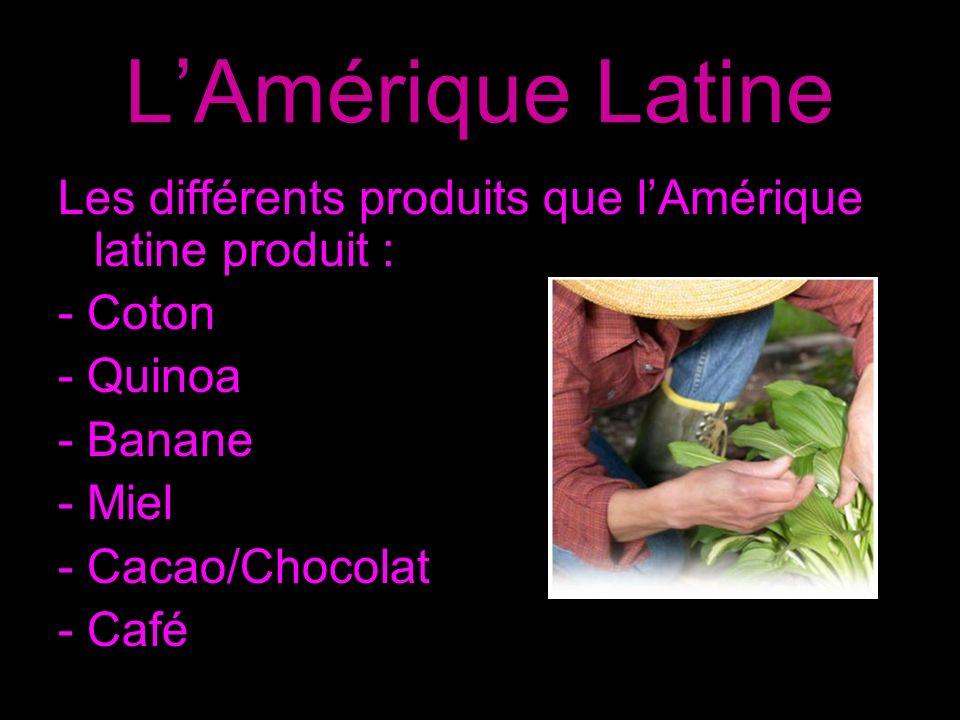 Amazonie Brésilienne Les différents produits que l Amazonie Brésilienne latine produit : - Café - Thé/ Tisane maté - Cacao/ Chocolat - Sucre - Quinoa - Riz - Épices - Confiture - Vanille - Pâte à tartiner - Biscuits - Céréales - Fruits et légumes secs