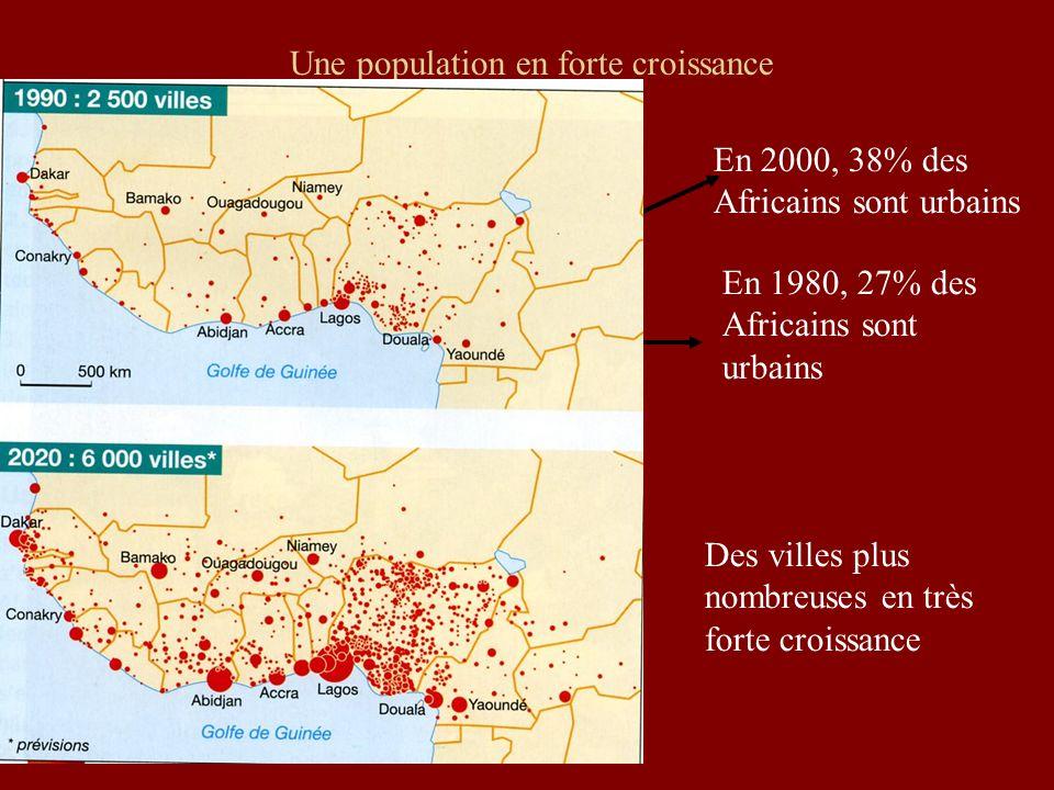 Une population en forte croissance X 4 en 50 ans ! En 1980, 27% des Africains sont urbains En 2000, 38% des Africains sont urbains Des villes plus nom