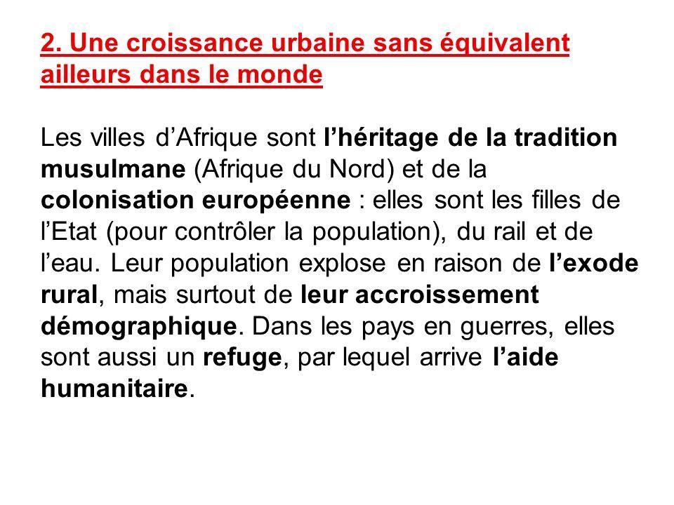 2. Une croissance urbaine sans équivalent ailleurs dans le monde Les villes dAfrique sont lhéritage de la tradition musulmane (Afrique du Nord) et de
