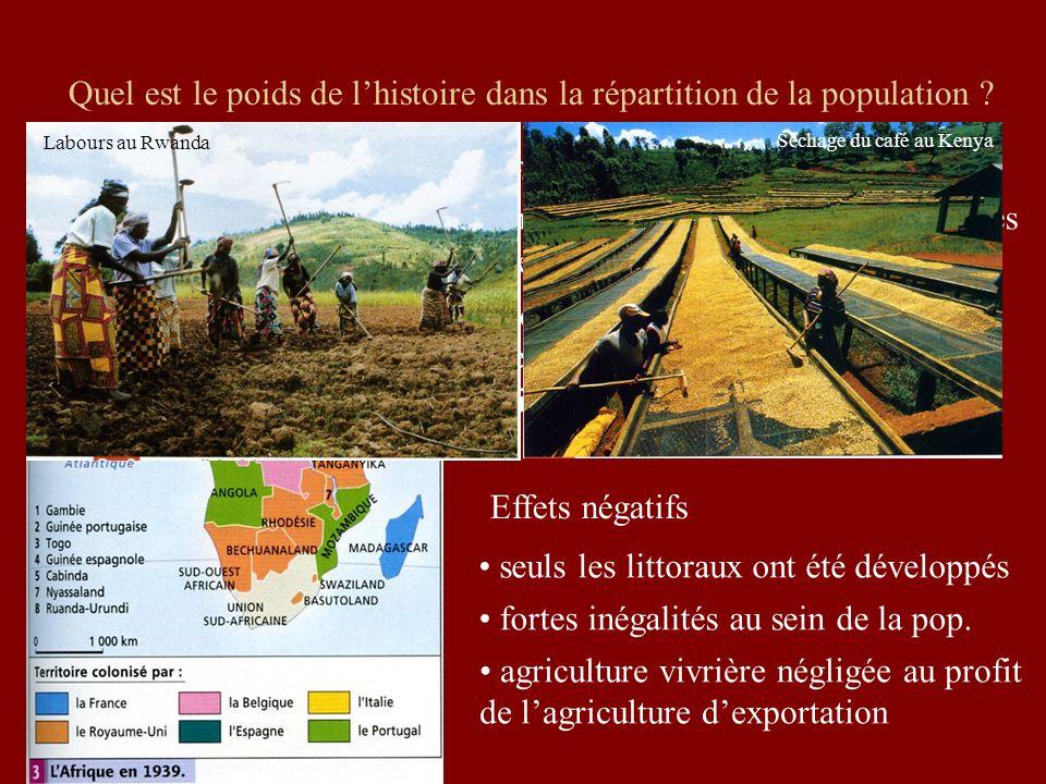 Quel est le poids de lhistoire dans la répartition de la population ? Effets positifs de la colonisation : mise en valeur des richesses minières dével