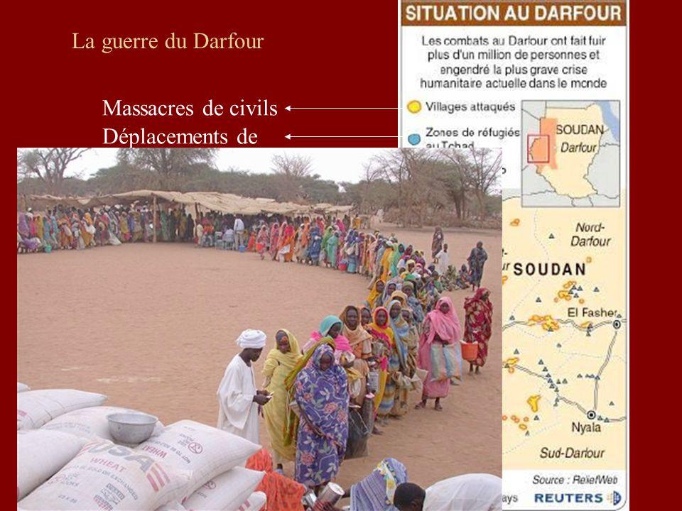La guerre du Darfour Massacres de civils Déplacements de population