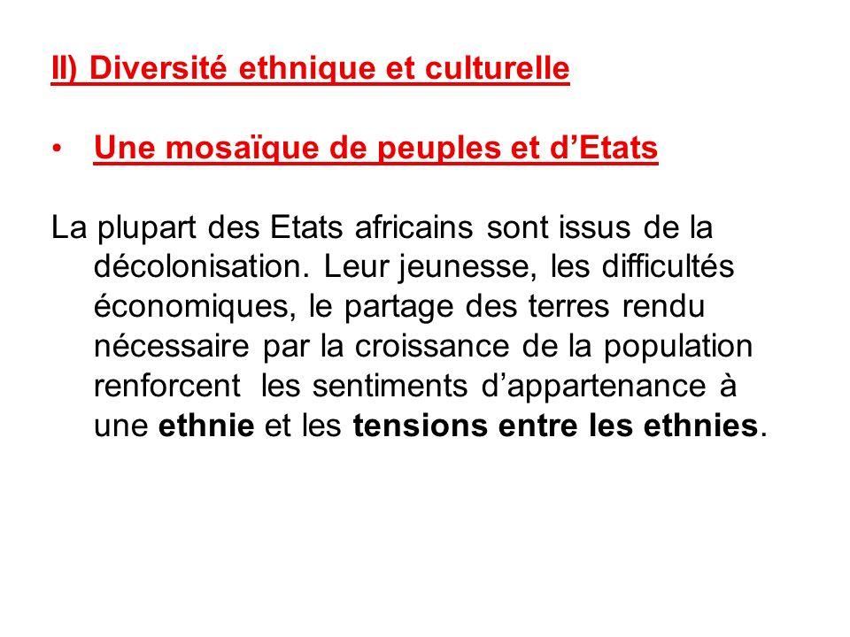 II) Diversité ethnique et culturelle Une mosaïque de peuples et dEtats La plupart des Etats africains sont issus de la décolonisation. Leur jeunesse,