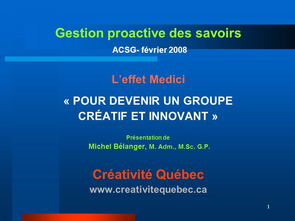 1 Gestion proactive des savoirs ACSG- février 2008 Leffet Medici « POUR DEVENIR UN GROUPE CRÉATIF ET INNOVANT » Présentation de Michel Bélanger, M.