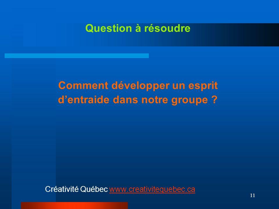 11 Question à résoudre Comment développer un esprit dentraide dans notre groupe .