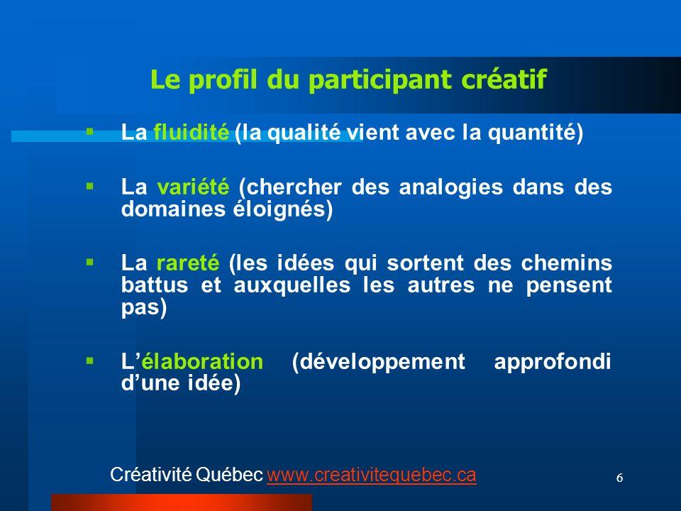 6 Le profil du participant créatif La fluidité (la qualité vient avec la quantité) La variété (chercher des analogies dans des domaines éloignés) La rareté (les idées qui sortent des chemins battus et auxquelles les autres ne pensent pas) Lélaboration (développement approfondi dune idée) Créativité Québec www.creativitequebec.cawww.creativitequebec.ca