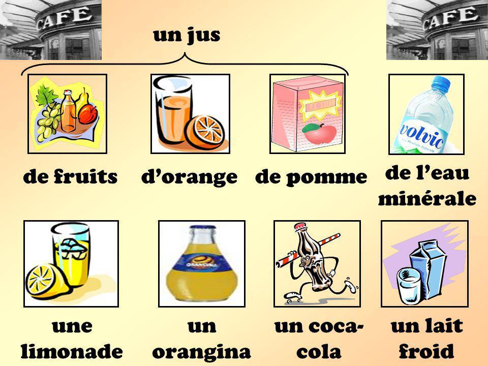 une limonade un orangina un lait froid de fruitsdorange un jus de pomme de leau minérale un coca- cola