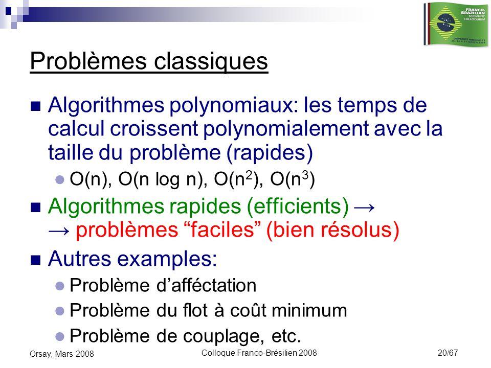 Colloque Franco-Brésilien 2008 20/67 Orsay, Mars 2008 Problèmes classiques Algorithmes polynomiaux: les temps de calcul croissent polynomialement avec