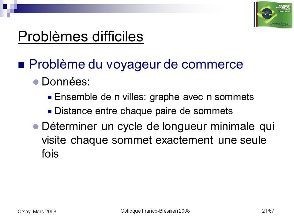 Colloque Franco-Brésilien 2008 21/67 Orsay, Mars 2008 Problèmes difficiles Problème du voyageur de commerce Données: Ensemble de n villes: graphe avec