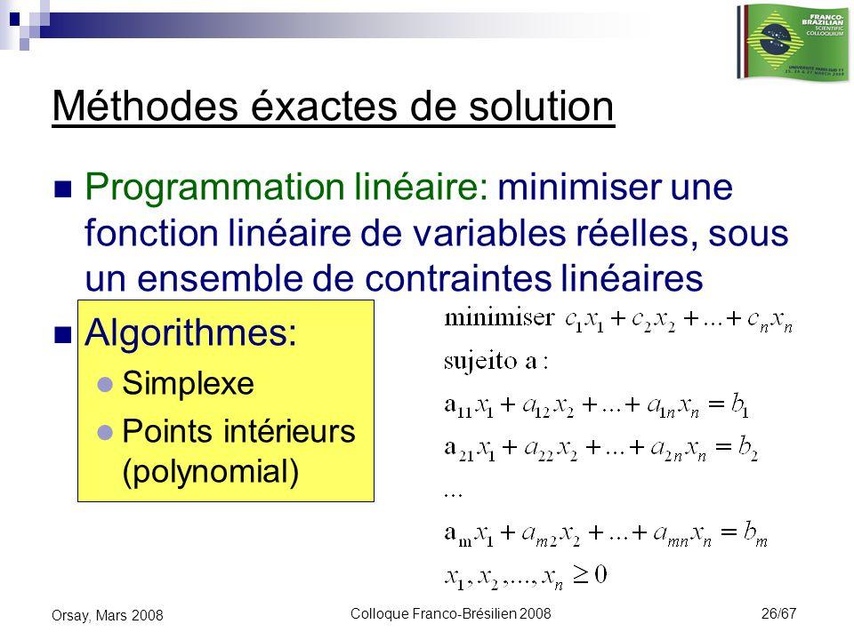 Colloque Franco-Brésilien 2008 26/67 Orsay, Mars 2008 Programmation linéaire: minimiser une fonction linéaire de variables réelles, sous un ensemble d