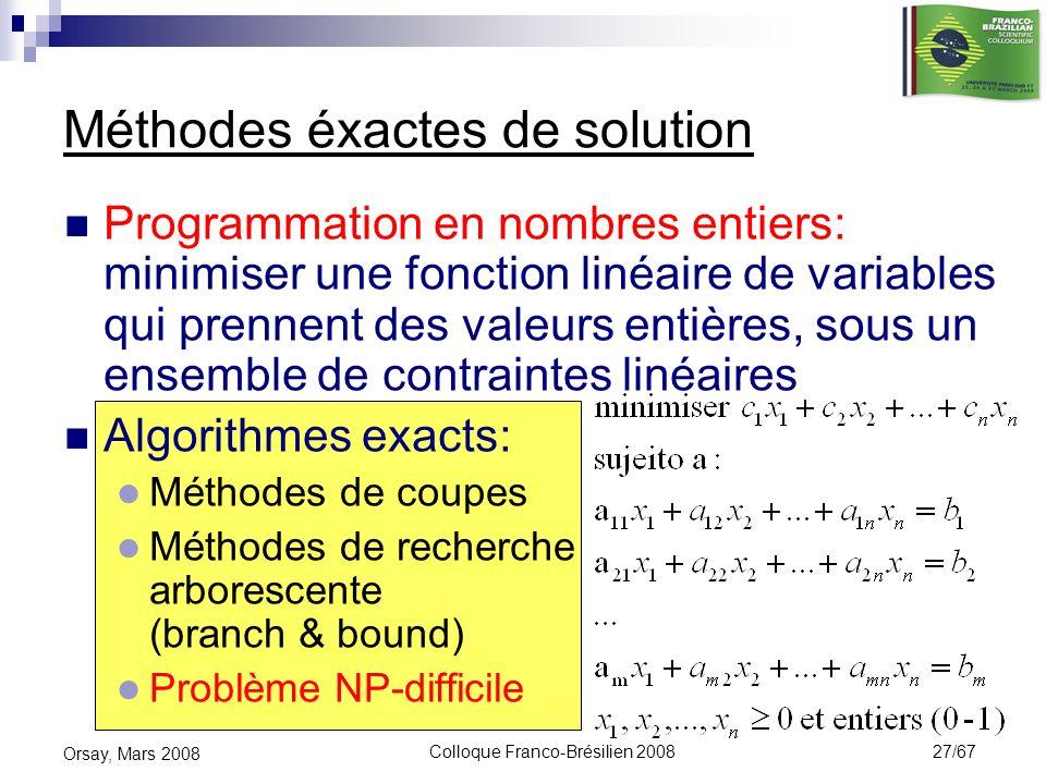 Colloque Franco-Brésilien 2008 27/67 Orsay, Mars 2008 Programmation en nombres entiers: minimiser une fonction linéaire de variables qui prennent des