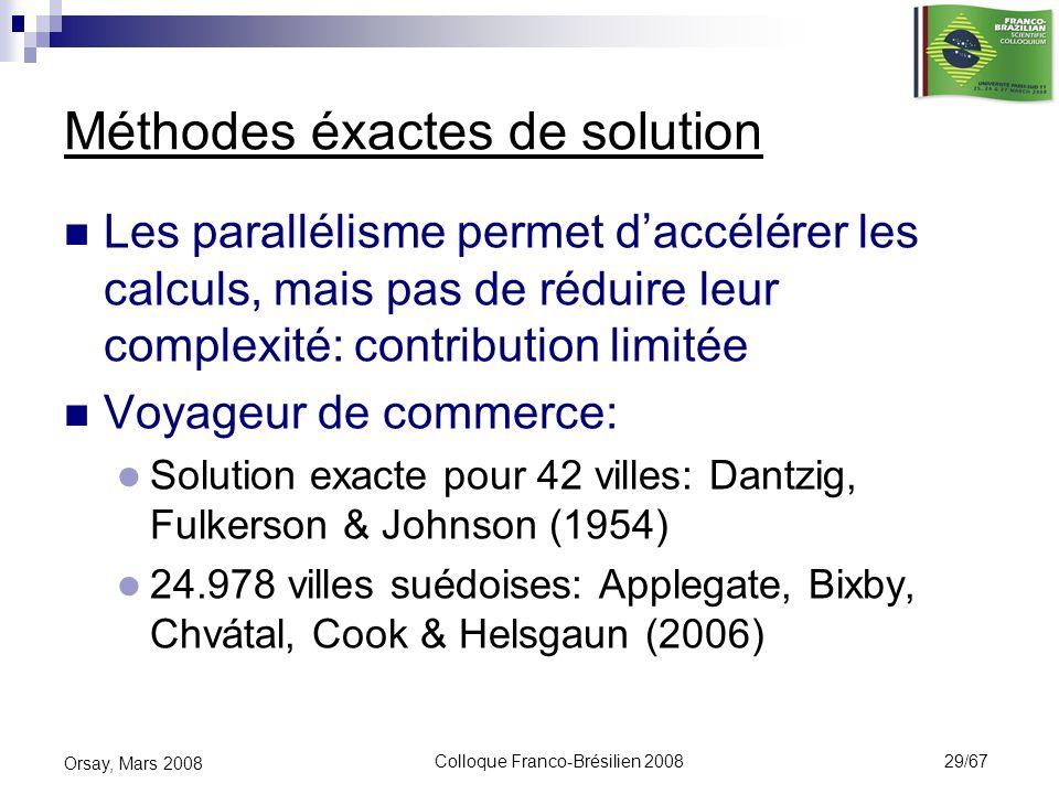 Colloque Franco-Brésilien 2008 29/67 Orsay, Mars 2008 Méthodes éxactes de solution Les parallélisme permet daccélérer les calculs, mais pas de réduire