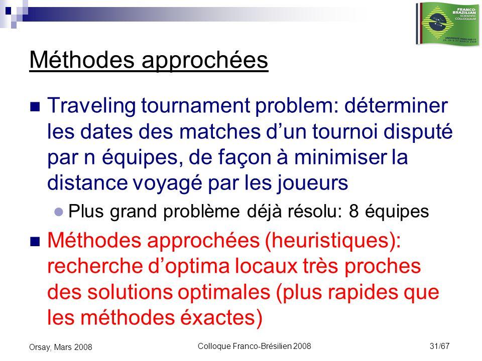 Colloque Franco-Brésilien 2008 31/67 Orsay, Mars 2008 Méthodes approchées Traveling tournament problem: déterminer les dates des matches dun tournoi d