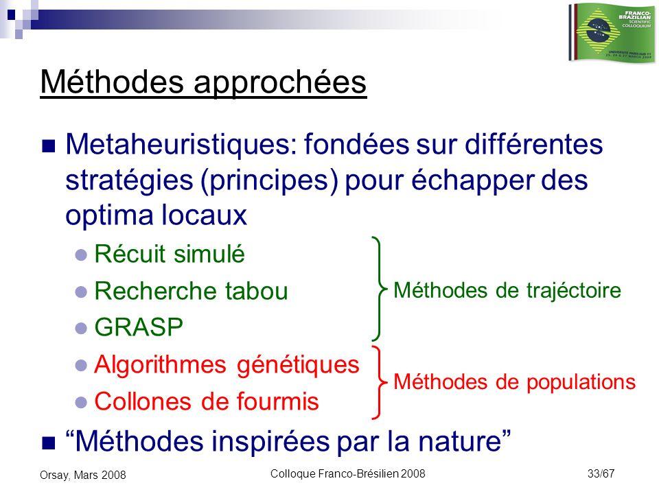 Colloque Franco-Brésilien 2008 33/67 Orsay, Mars 2008 Méthodes approchées Metaheuristiques: fondées sur différentes stratégies (principes) pour échapp
