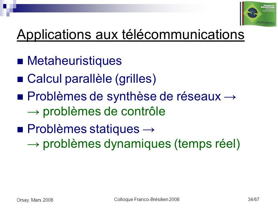 Colloque Franco-Brésilien 2008 34/67 Orsay, Mars 2008 Applications aux télécommunications Metaheuristiques Calcul parallèle (grilles) Problèmes de syn