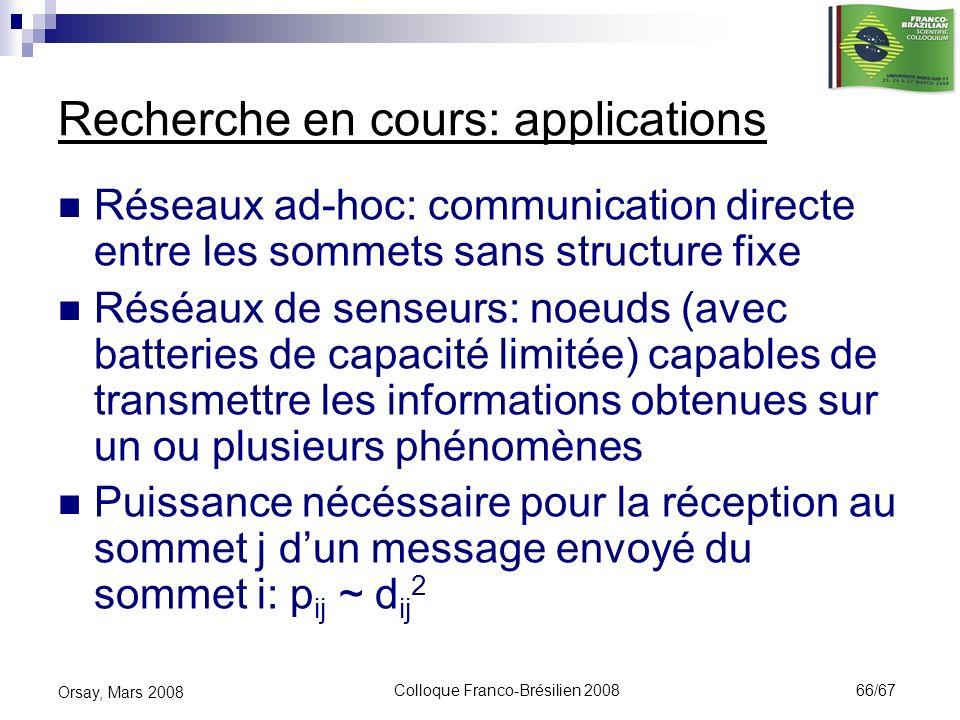 Colloque Franco-Brésilien 2008 66/67 Orsay, Mars 2008 Recherche en cours: applications Réseaux ad-hoc: communication directe entre les sommets sans st