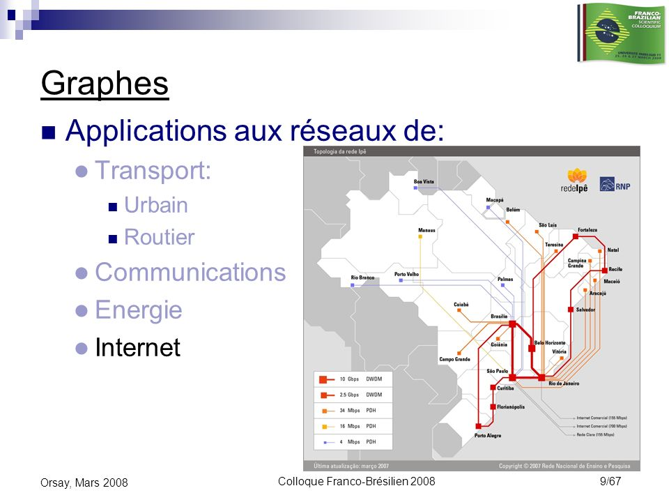 Colloque Franco-Brésilien 2008 50/67 Orsay, Mars 2008 Routage des circuits virtuels Algorithme GRASP pour routage optimal Outil pour lafféctation optimale des trafics sur routes uniques dans les réseaux capacités: minimisation des délais avec équilibrage des charges Utilisation chez AT&T