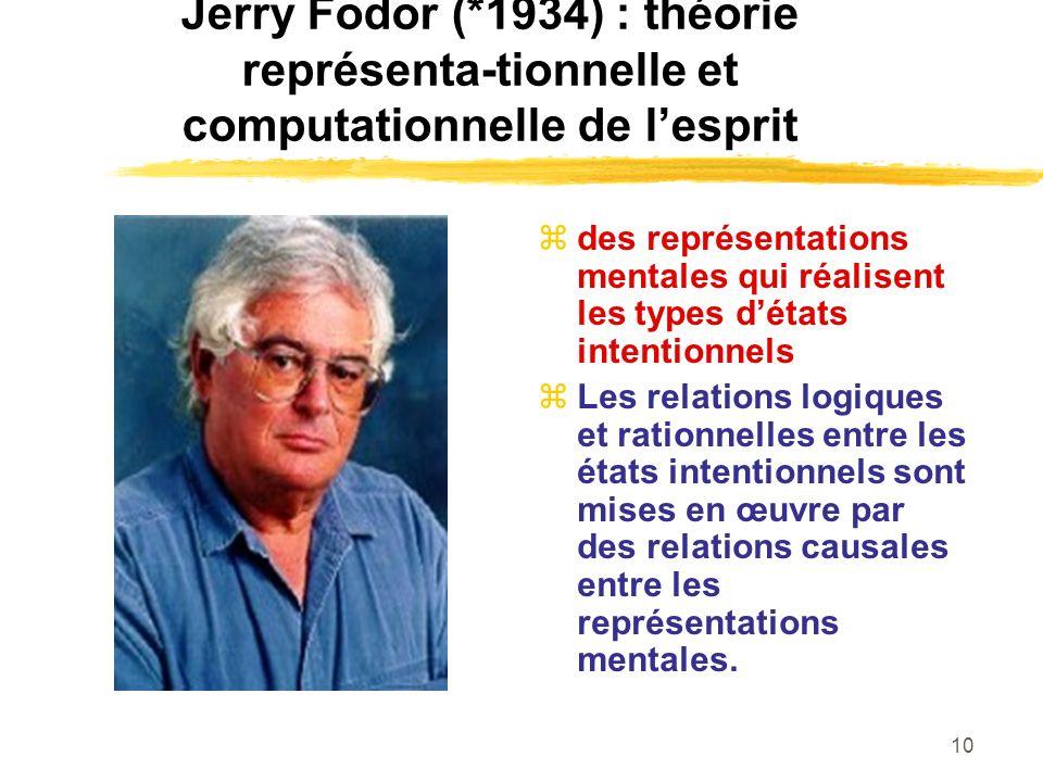 10 Jerry Fodor (*1934) : théorie représenta-tionnelle et computationnelle de lesprit des représentations mentales qui réalisent les types détats inten