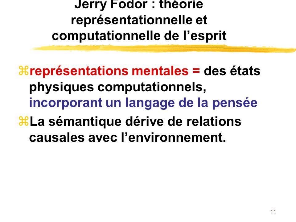11 Jerry Fodor : théorie représentationnelle et computationnelle de lesprit représentations mentales = des états physiques computationnels, incorporan