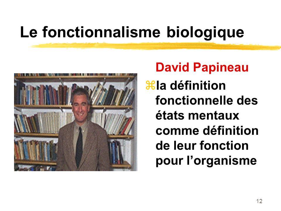 12 Le fonctionnalisme biologique David Papineau la définition fonctionnelle des états mentaux comme définition de leur fonction pour lorganisme