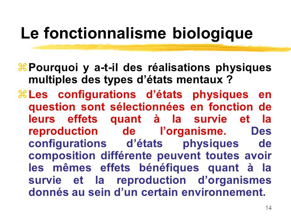 14 Le fonctionnalisme biologique Pourquoi y a-t-il des réalisations physiques multiples des types détats mentaux ? Les configurations détats physiques