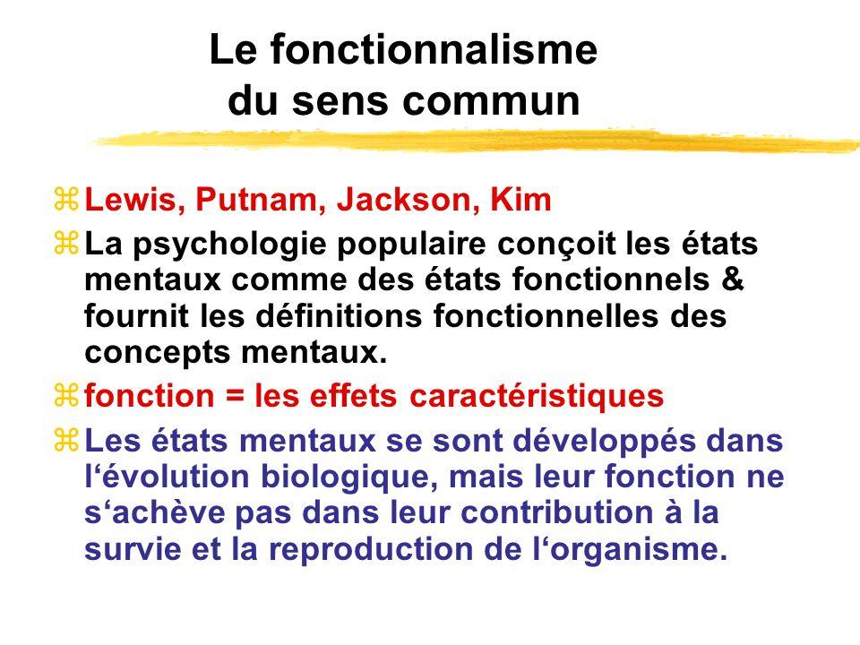 Le fonctionnalisme du sens commun Lewis, Putnam, Jackson, Kim La psychologie populaire conçoit les états mentaux comme des états fonctionnels & fourni