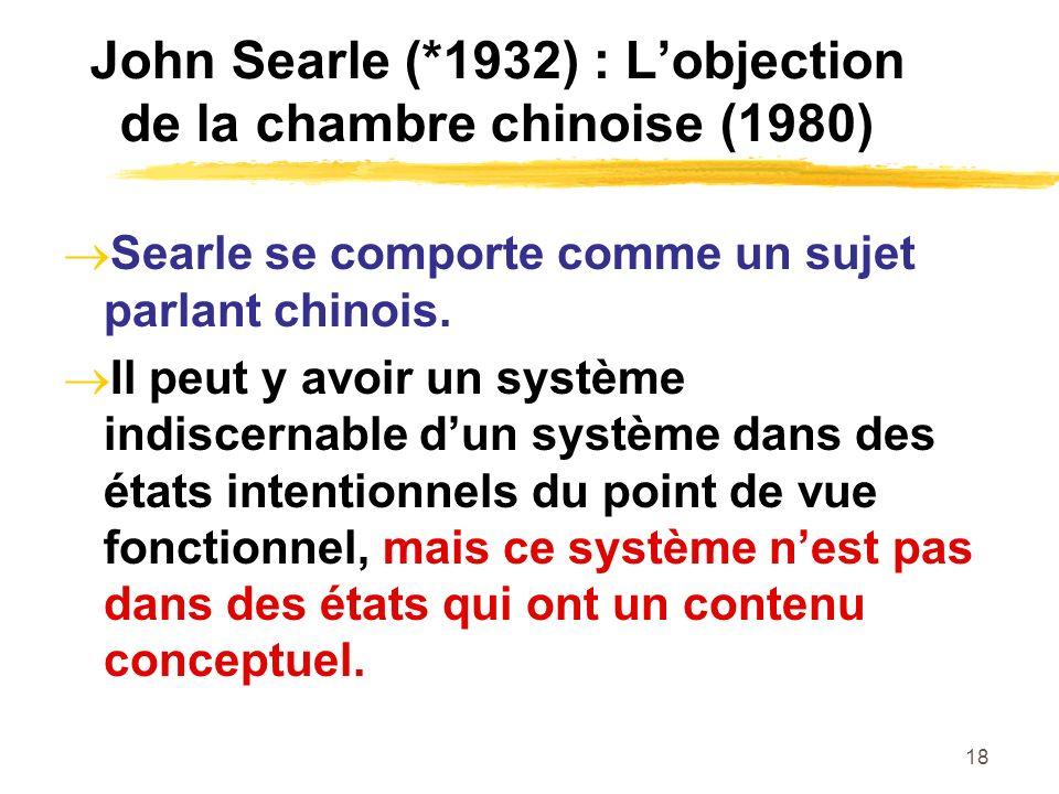 18 John Searle (*1932) : Lobjection de la chambre chinoise (1980) Searle se comporte comme un sujet parlant chinois. Il peut y avoir un système indisc