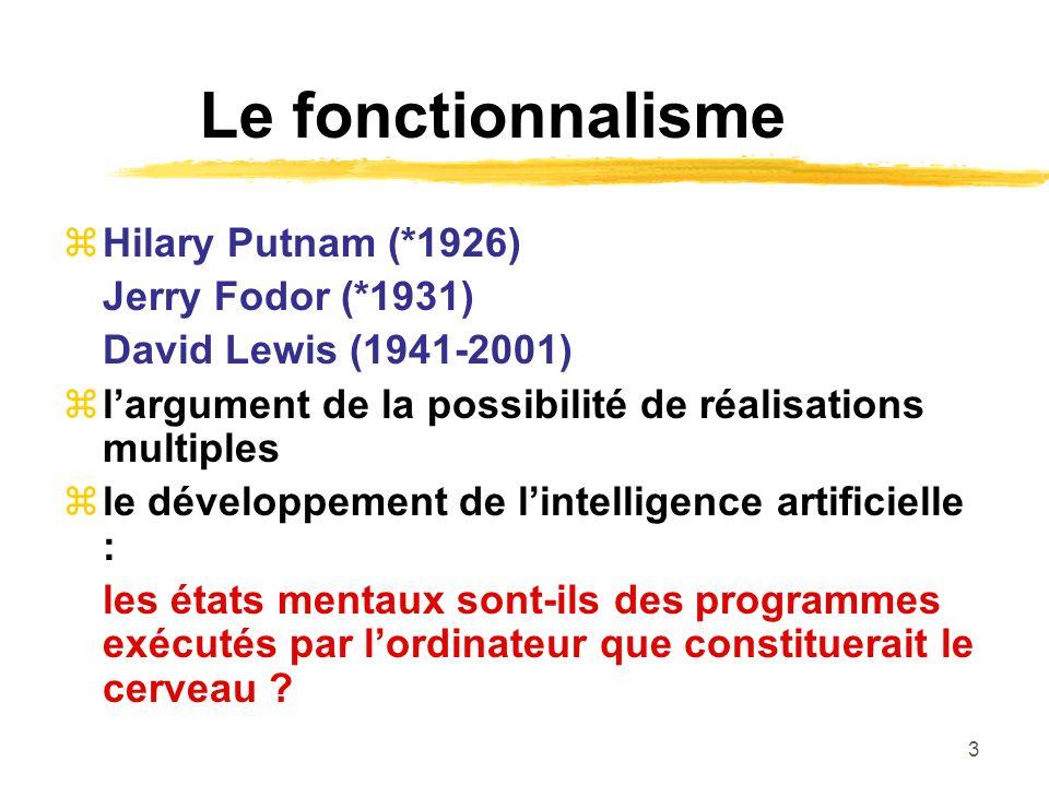 3 Le fonctionnalisme Hilary Putnam (*1926) Jerry Fodor (*1931) David Lewis (1941-2001) largument de la possibilité de réalisations multiples le dévelo