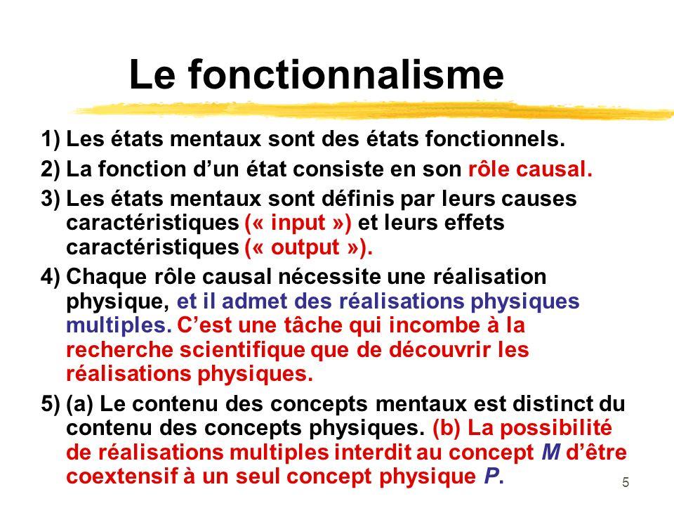 5 Le fonctionnalisme 1)Les états mentaux sont des états fonctionnels. 2)La fonction dun état consiste en son rôle causal. 3)Les états mentaux sont déf