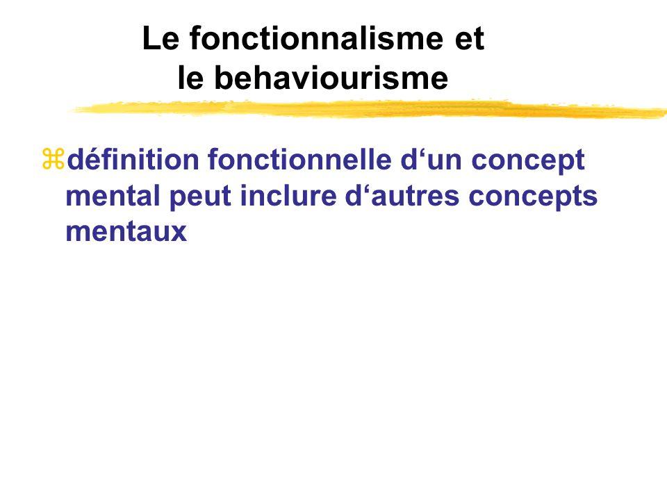 Le fonctionnalisme et le behaviourisme définition fonctionnelle dun concept mental peut inclure dautres concepts mentaux