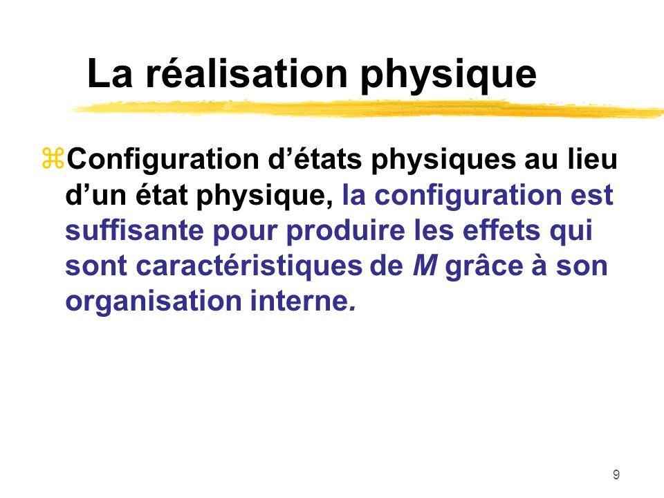 9 La réalisation physique Configuration détats physiques au lieu dun état physique, la configuration est suffisante pour produire les effets qui sont