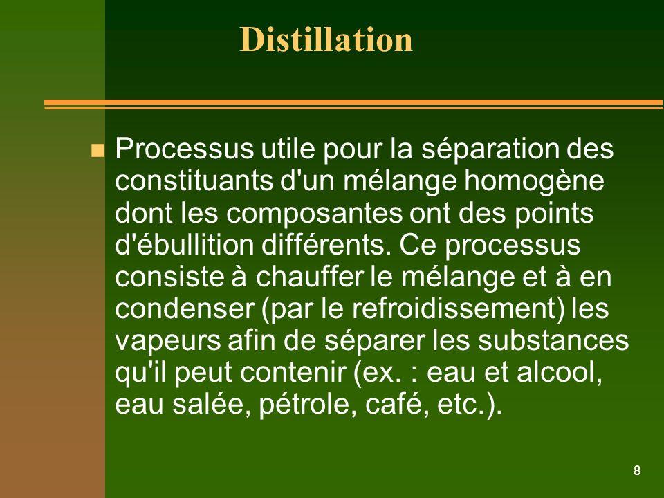 8 Distillation n Processus utile pour la séparation des constituants d un mélange homogène dont les composantes ont des points d ébullition différents.