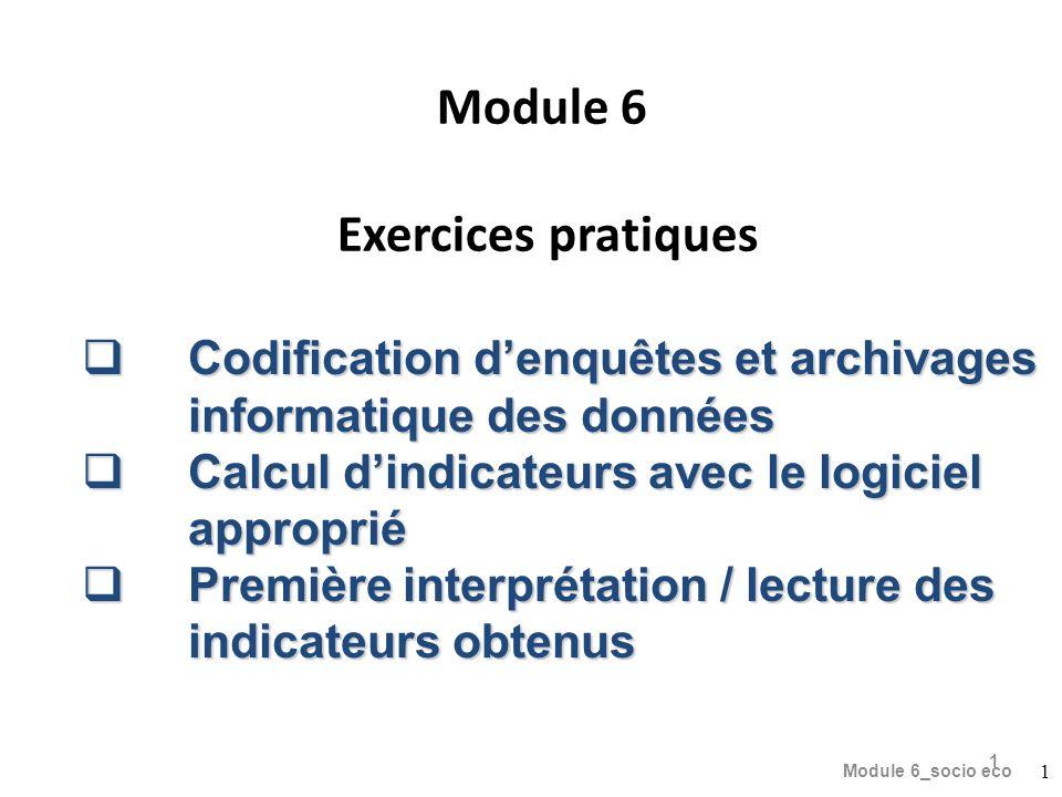 Module 6 Exercices pratiques Module 6_socio eco 1 1 Codification denquêtes et archivages informatique des données Codification denquêtes et archivages