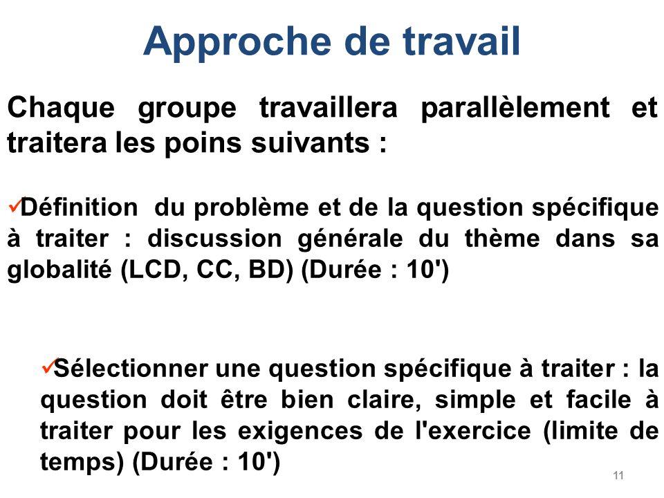 11 Définition du problème et de la question spécifique à traiter : discussion générale du thème dans sa globalité (LCD, CC, BD) (Durée : 10') Sélectio