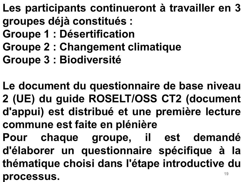 19 Les participants continueront à travailler en 3 groupes déjà constitués : Groupe 1 : Désertification Groupe 2 : Changement climatique Groupe 3 : Bi