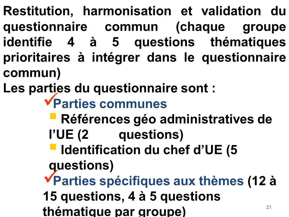 21 Restitution, harmonisation et validation du questionnaire commun (chaque groupe identifie 4 à 5 questions thématiques prioritaires à intégrer dans
