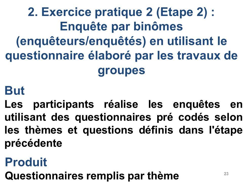 23 2. Exercice pratique 2 (Etape 2) : Enquête par binômes (enquêteurs/enquêtés) en utilisant le questionnaire élaboré par les travaux de groupes But L