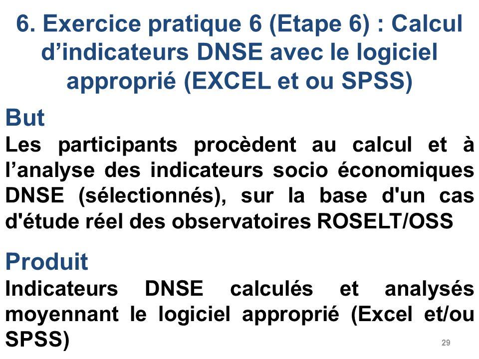 29 6. Exercice pratique 6 (Etape 6) : Calcul dindicateurs DNSE avec le logiciel approprié (EXCEL et ou SPSS) But Les participants procèdent au calcul