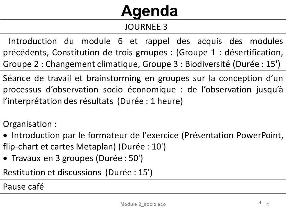 Module 2_socio eco4 4 Agenda JOURNEE 3 Introduction du module 6 et rappel des acquis des modules précédents, Constitution de trois groupes : (Groupe 1
